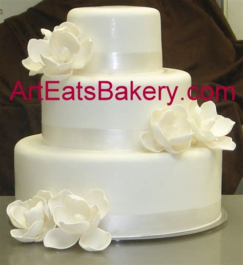 Home Decor In Greenville Sc by Three Tier Custom White Wedding Cake With Sugar Magnolias