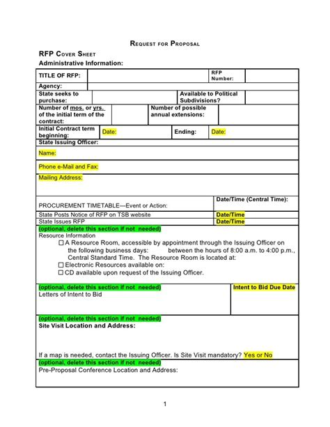 Simple Rfp Template doc 702591 13 rfp template bizdoska