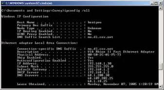 Ipconfig all windows screenshot