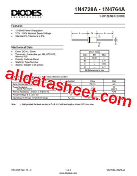 uses of diode datasheet 1n4744a datasheet pdf diodes incorporated