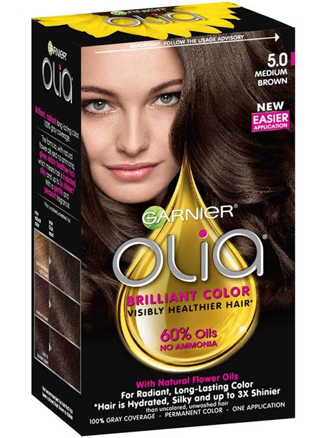 garnier olia colors olia ammonia free permanent hair color medium brown
