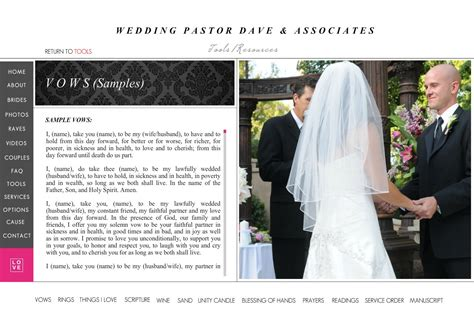 Wedding Vows Pastor by Wedding Pastor Dave Vows