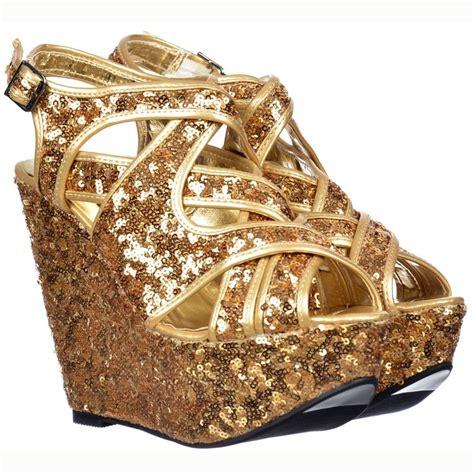 Wedges Kokop Hitam Glitter Gold onlineshoe sparkly gold sequin glitter strappy wedges gold sequin onlineshoe from shoekandi uk