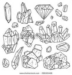 set of hand drawn crystals and minerals trendy hipster