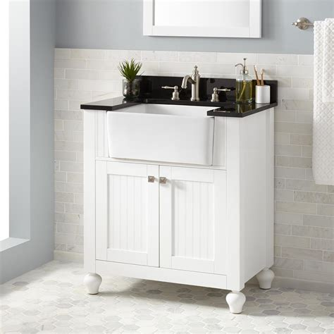 White Vanity Cabinets For Bathrooms 30 Quot Nellie Farmhouse Sink Vanity White Bathroom Vanities Bathroom