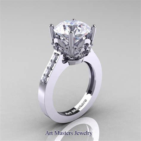 classic 14k white gold 3 0 carat white sapphire