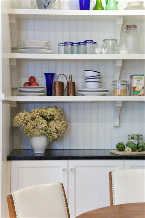 open shelves houzz a closer look at the beadboard and open kitchen shelving