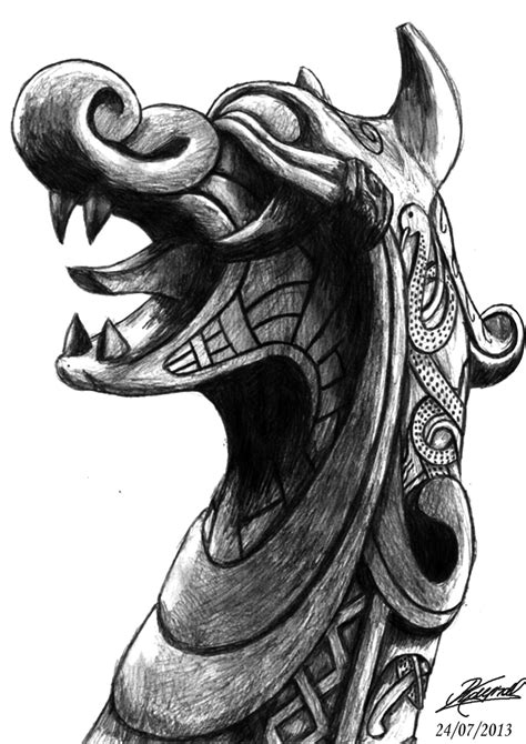 viking dragon tattoo viking ship bow by raynaljacquemin deviantart