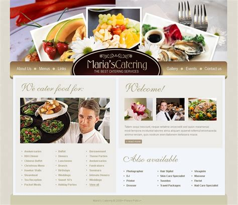 templates for catering website catering website template 24748
