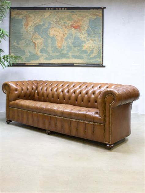 chesterfield vintage sofa vintage leather chesterfield vintage leren lounge bank xl