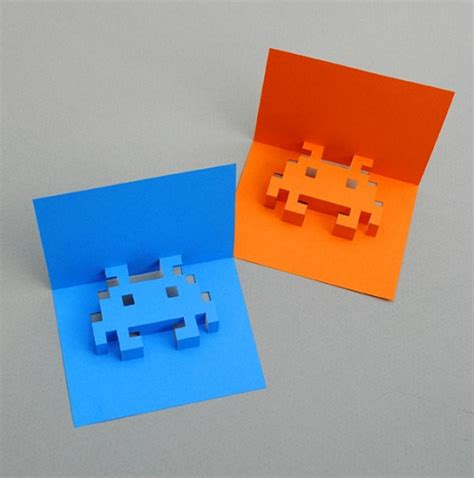 pixel pop up card template how to make 8 bit popup cards designtaxi