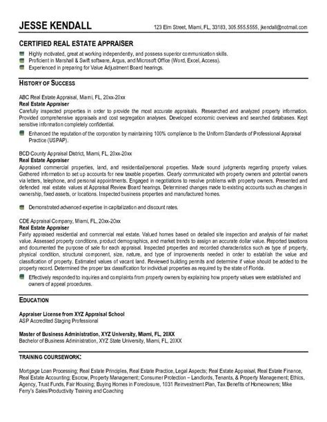 real estate resume exles appraiser resume exle real estate appraiser resume