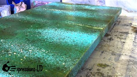Stained Glass Countertops by Acid Stain Concrete Countertop Turquoise And Rust