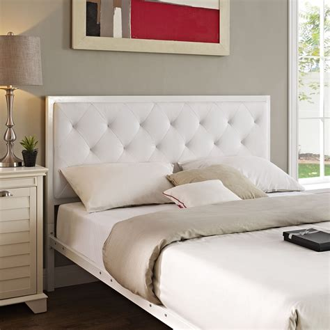 mia bedroom set mia tufted faux leather bed white dcg stores