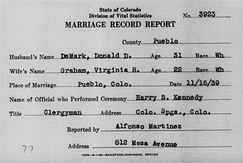 Marriage Records Virginia Dodge Family History Virginia Graham Demark 1917