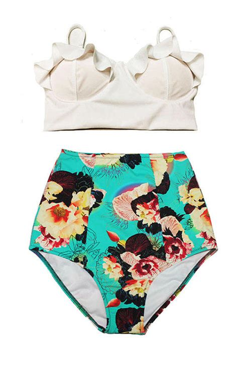 cute pattern bathing suits white midkini top and mint flower cute from venderstore on