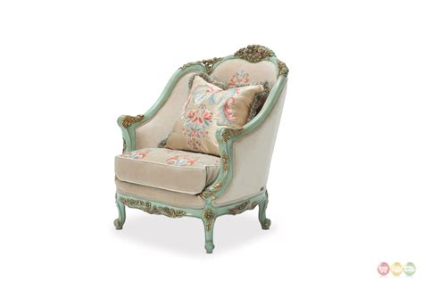 belle fleur luxury sea glass embroidered chair with