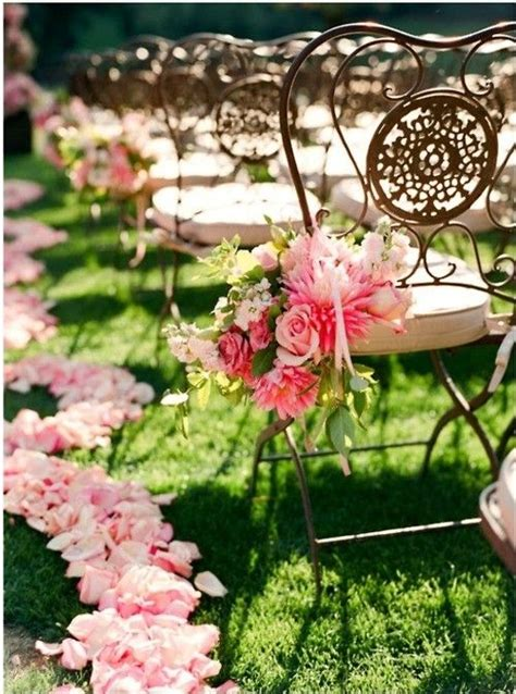 chairs garden wedding wedding ceremony pink flower petalspink wedding pink