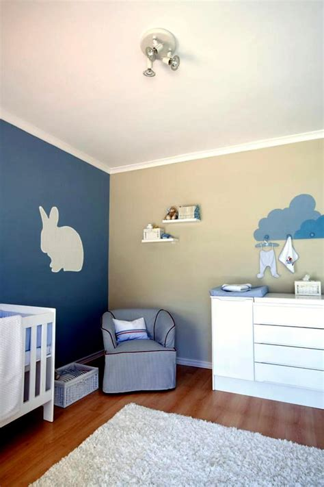 blue  beige wall   rabbit model  modern baby