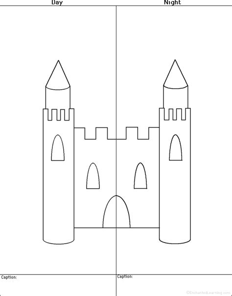 castle cut out template drawing and coloring worksheets and