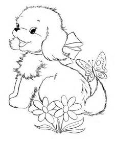 Puppies Coloring Pages  Cute With Flower Page sketch template