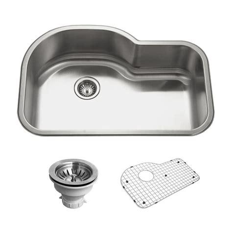 Houzer Kitchen Sink Houzer Belleo Series Drop In Stainless Steel 32 In Offset Single Bowl Kitchen Sink Bsh 3200