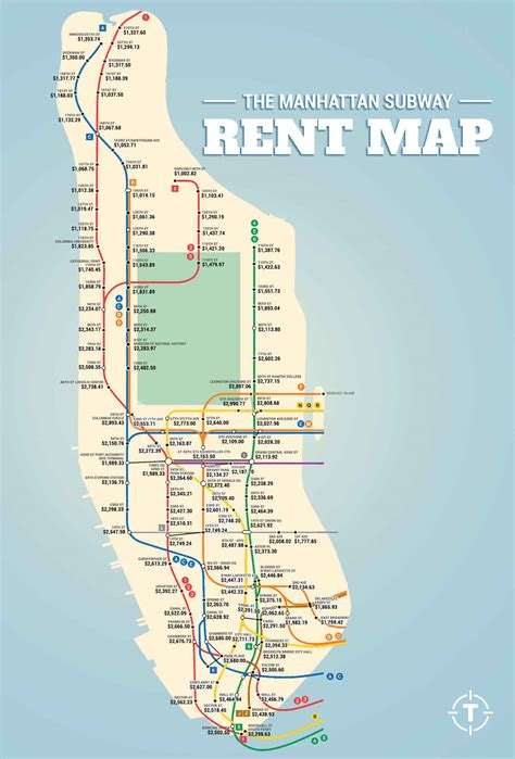 maps of manhattan subway rent map shows manhattan rental prices along each