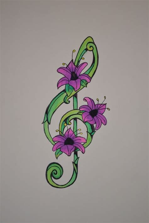 flower tattoo notes treble clef music notes and watercolour on pinterest