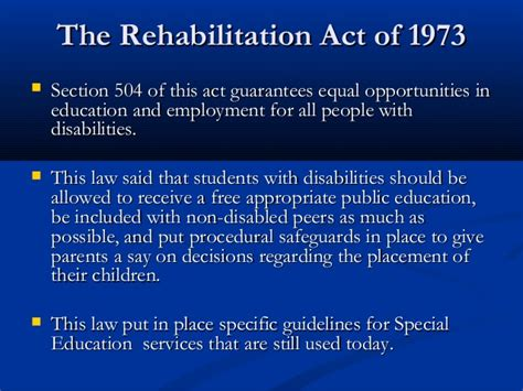 rehabilitation act of 1973 section 504 events and legislation in early childhood education