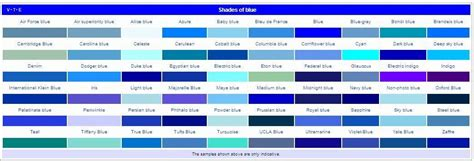 color names for blue list of colors and name of their shades in 2019 colors