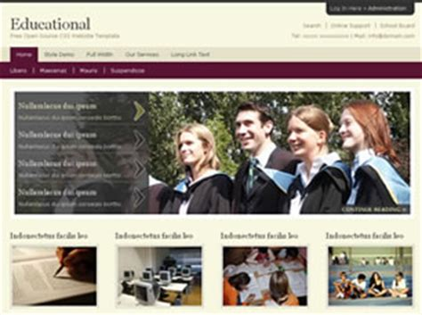 free css templates for educational websites educational free website template free css templates