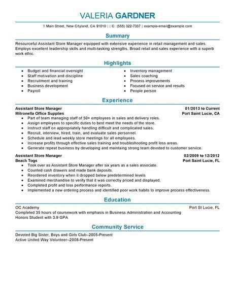 Retail Assistant Manager Resume Sample Assistant Store Manager Resume Example Retail Sample