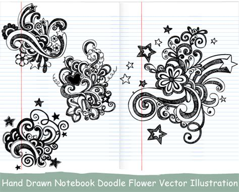 doodle flower photoshop brushes notebook doodle flower vector illustration