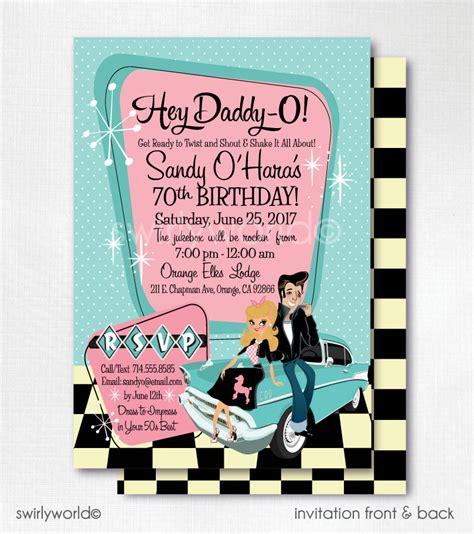 hochzeitseinladung 50er jahre stil retro 1950s birthday 50s rockabilly invitations sock