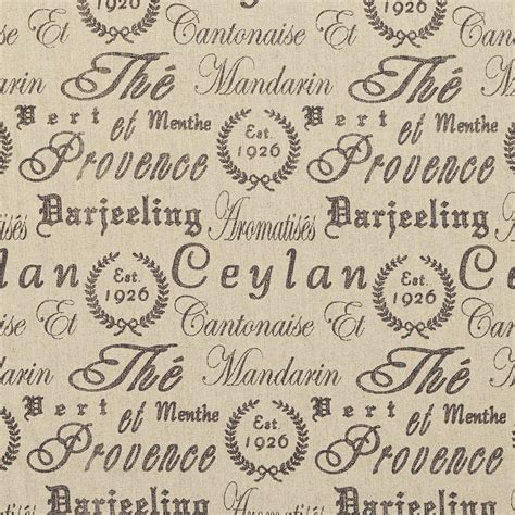 Upholstery Fabric With Words by Beige And Black Print Linen Upholstery Fabric