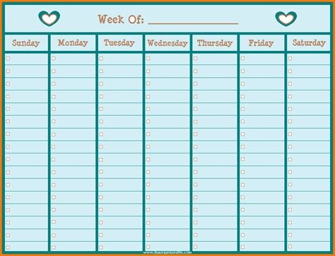 printable calendar days weekly calendar with hours weekly calendar template
