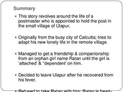 themes in tagore s short stories presentation 1 the postmaster
