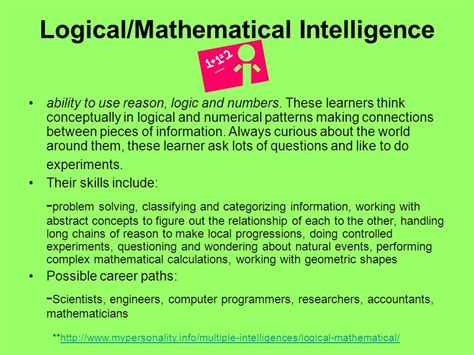 Mathematical Intelligence advanced responding to reading ppt