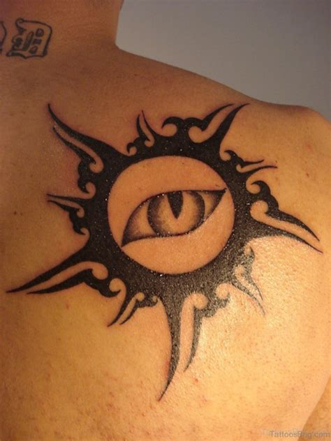 tribal sun shoulder tattoo 54 sun tattoos for back