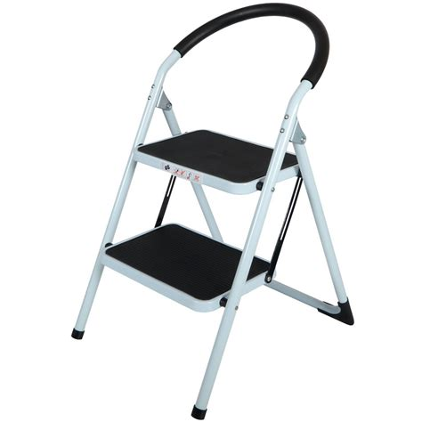 step ladders 2 tread strong steel non slip folding step