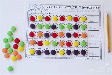 repeating patterns with 2 colours 4 worksheet activities rainbow patterns activity free printable life over cs