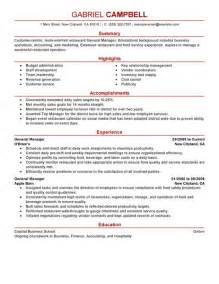 Resume Templates No Work Experience Best Restaurant Bar General Manager Resume Example