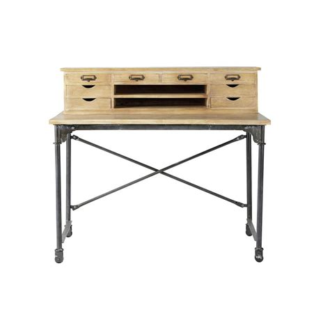 wood and metal writing desk solid mango wood and metal writing desk w 117cm archibald
