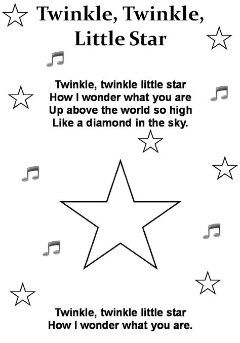 coloring page twinkle twinkle little star twinkle twinkle coloring page nursery rhymes