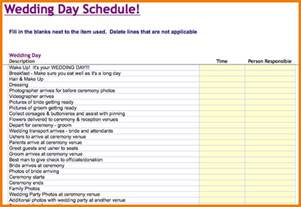 Wedding Day Timeline Template Free by 7 Day Template Calendar Template 2016