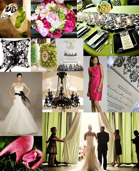damask pink green wedding inspiration board