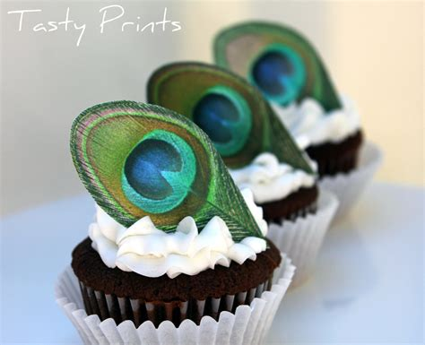 Peacock Feather Cake Decorations by 12 Edible Peacock Feather Classic Cupcake Topper By