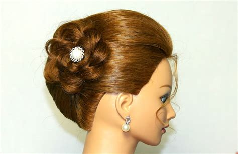 hairstyle for medium hair updo with braided flower