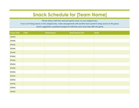Snack Sign Up Sheet For Sports Team Girl Scout Pinterest An Facebook And Us Football Snack Schedule Template