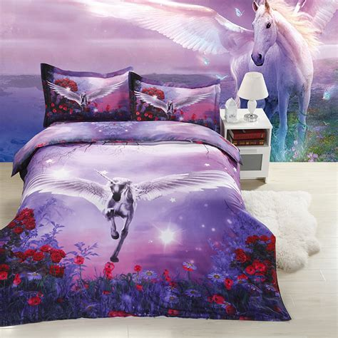 pillow sets for bed unicorn bedspreads 3d unicorn print bedding sets purple